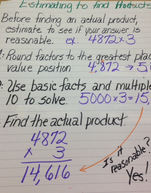 Estimating To Find Products Anchor Chart on multiplying and dividing decimals worksheets