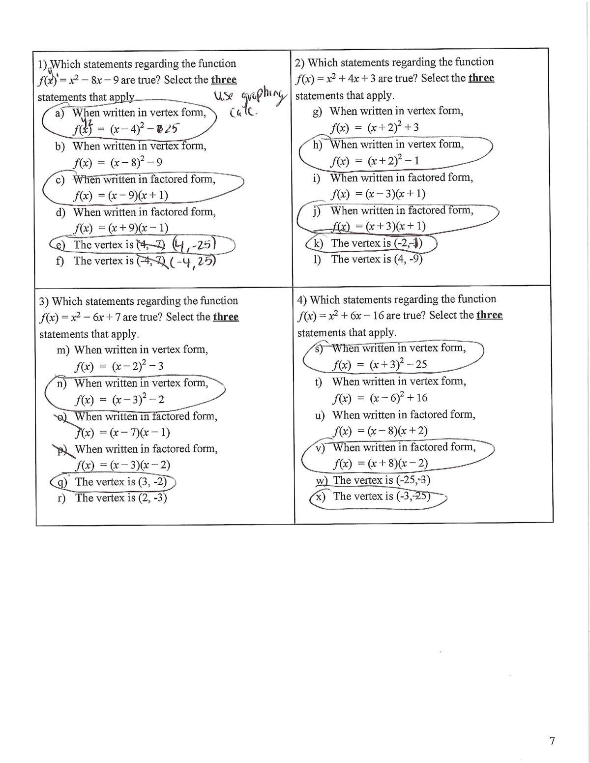 Zarro, Michael / Algebra 1B - Final Exam Review - Answer ...