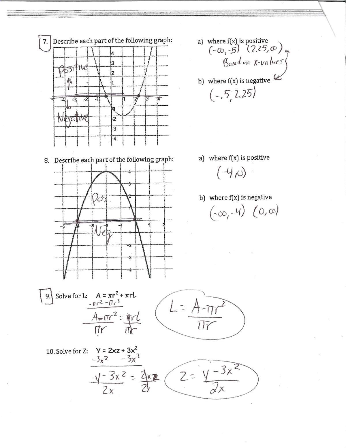 Zarro, Michael / Algebra 1 - Final Exam Review - Answer Key