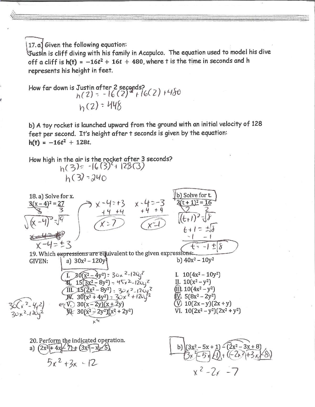 Zarro, Michael / Algebra 1 - Final Exam Review - Answer ...